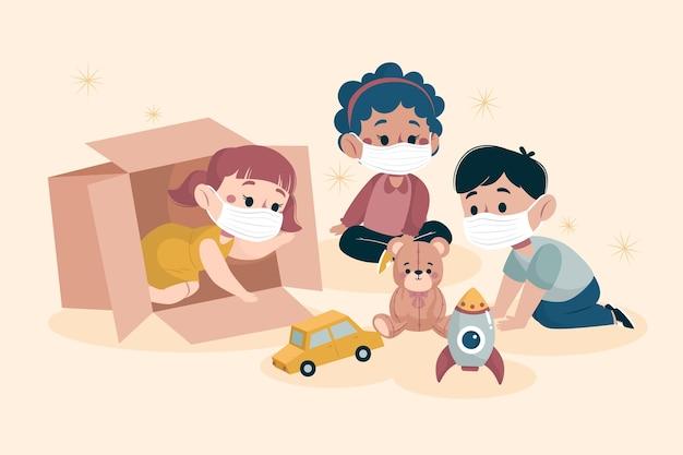 Дети играют вместе в медицинских масках Бесплатные векторы