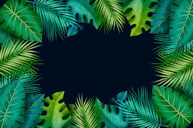熱帯グラデーションの緑の葉のコピースペース 無料ベクター