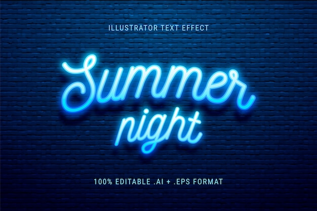夏の夜のテキスト効果 無料ベクター