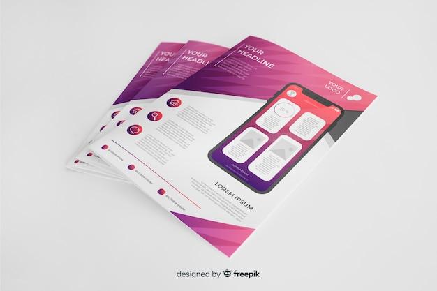 Флаер для мобильных приложений Бесплатные векторы