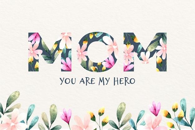 День матери надписи с цветами Бесплатные векторы