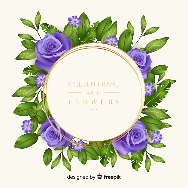 花とゴールデンフレーム 無料ベクター