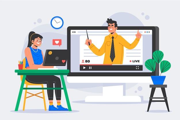 Концепция онлайн-учебников Бесплатные векторы