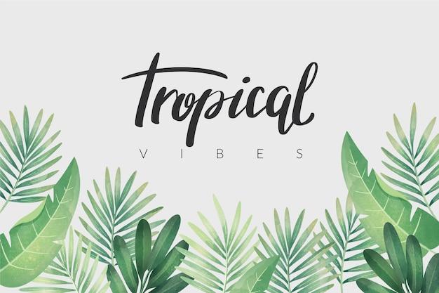 Тропическая надпись с листьями Бесплатные векторы