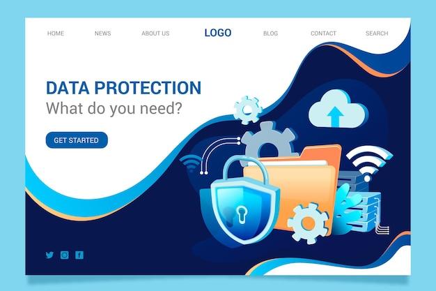 Концепция целевой страницы защиты данных Бесплатные векторы
