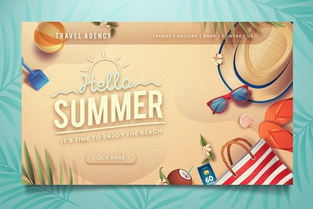 Привет летняя целевая страница Бесплатные векторы