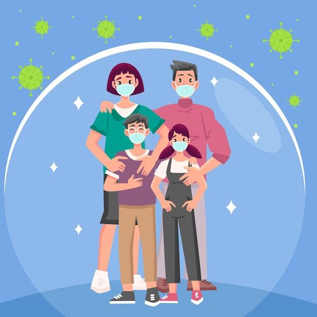 Семья в масках Бесплатные векторы
