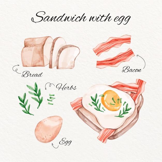 水彩サンドイッチレシピコンセプト 無料ベクター