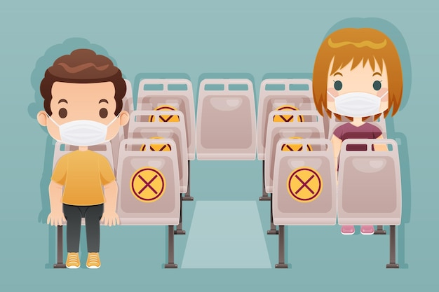 Держите дистанцию в общественном транспорте Бесплатные векторы