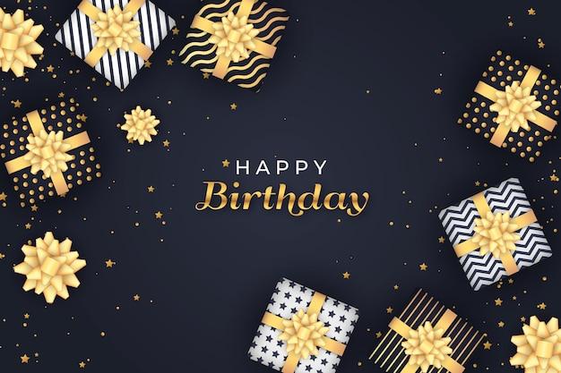С днем рождения упакованные подарочные коробки Бесплатные векторы