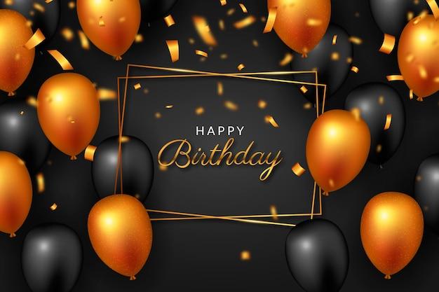 お誕生日おめでとうオレンジと黒の風船 無料ベクター