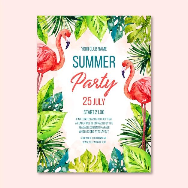 水彩夏のパーティーポスター 無料ベクター