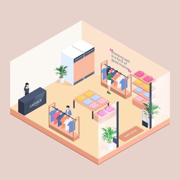 Концепция магазина изометрической одежды Бесплатные векторы