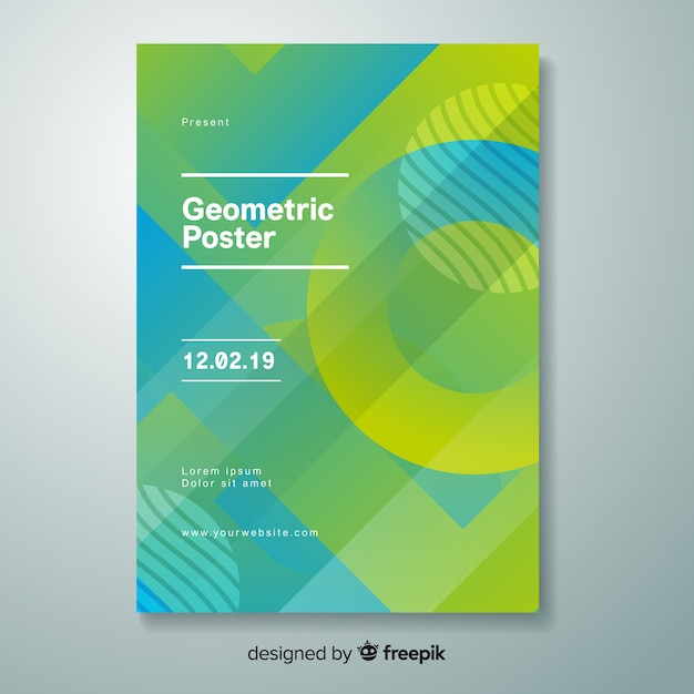 Постер с геометрическим градиентом Бесплатные векторы