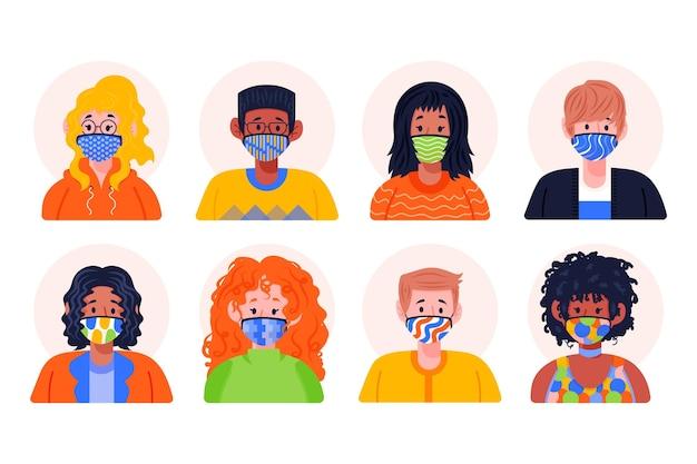 Люди аватары в тканевых масках Бесплатные векторы