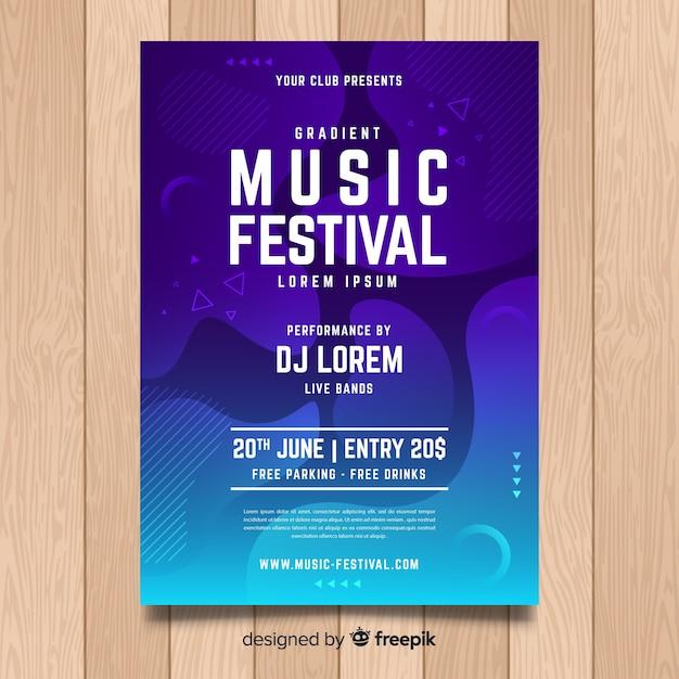 Шаблон плаката музыкального фестиваля Бесплатные векторы