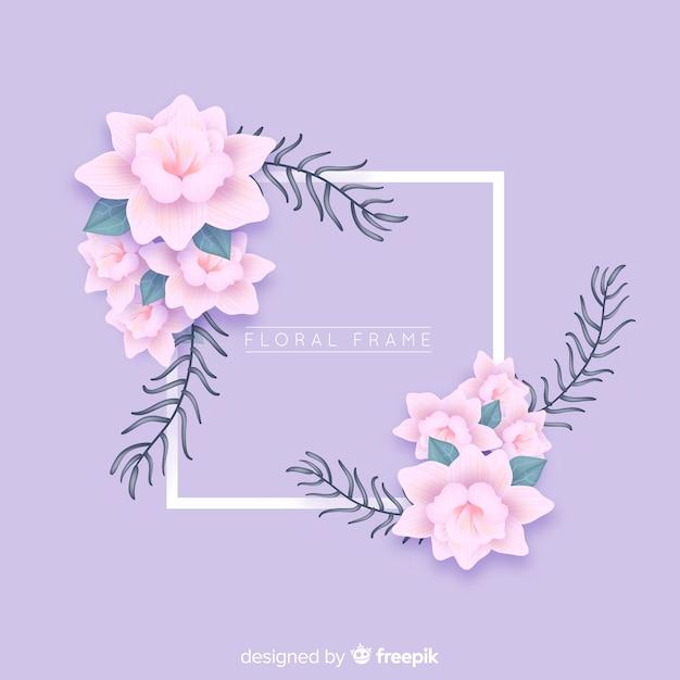 リアルな花のフレーム 無料ベクター