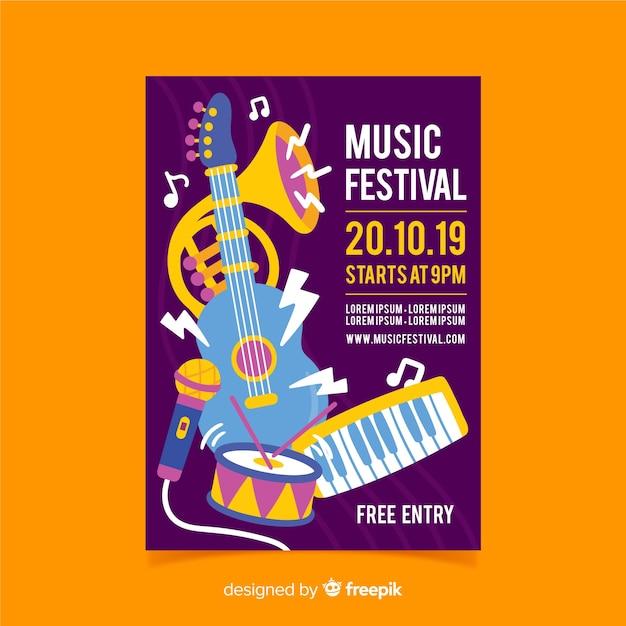 手描き楽器音楽祭のポスター 無料ベクター
