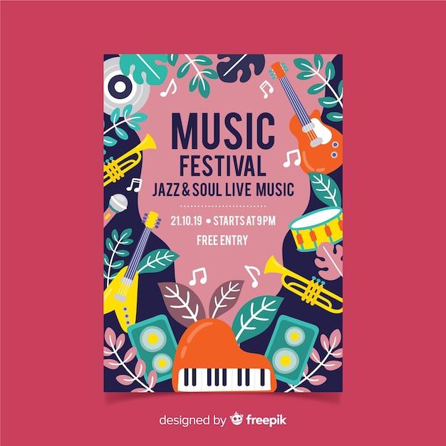 Инструменты и листья музыкального фестиваля афиша Бесплатные векторы