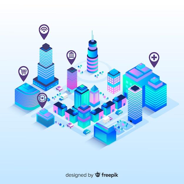Изометрический умный город Бесплатные векторы