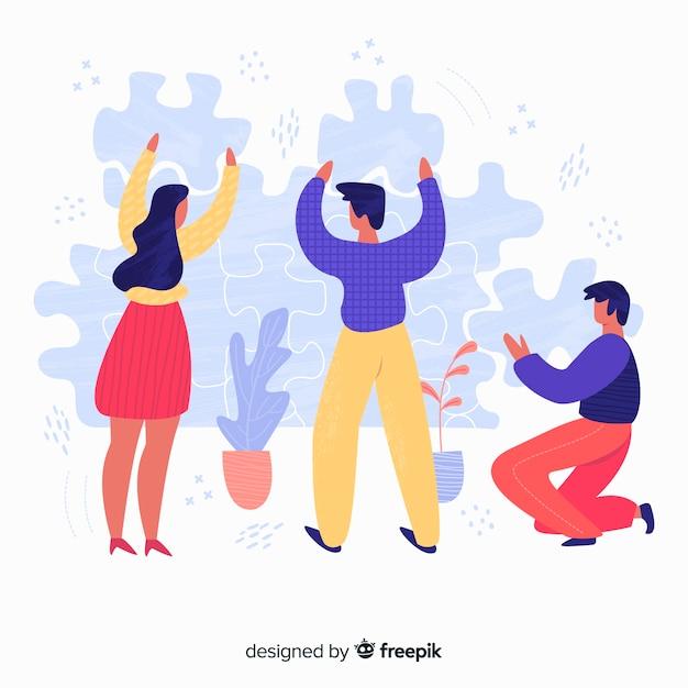 Рисованной команды, делая фон головоломки Бесплатные векторы