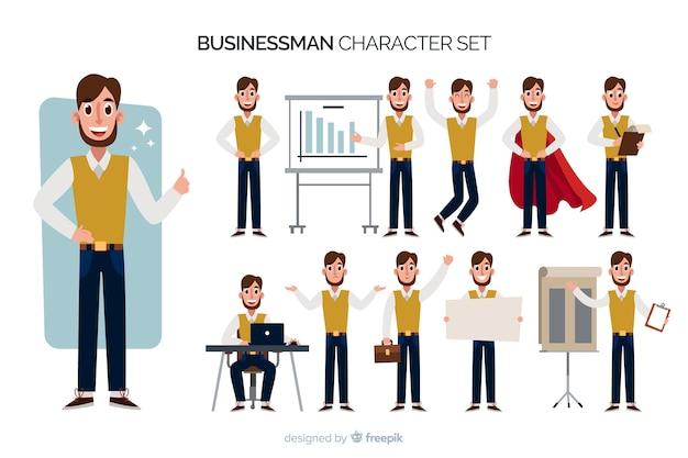 ニースのビジネスマンのキャラクターセット 無料ベクター