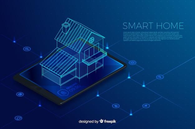 グラデーションスマートホームアイソメトリック技術の背景 無料ベクター
