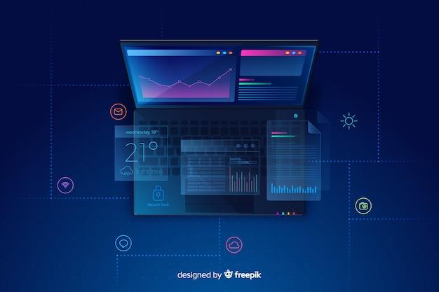 Градиент вид сверху ноутбук технологии фон Бесплатные векторы