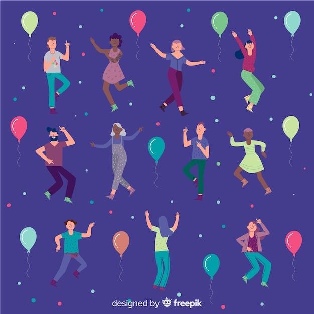 手描きの背景を踊る人々 無料ベクター