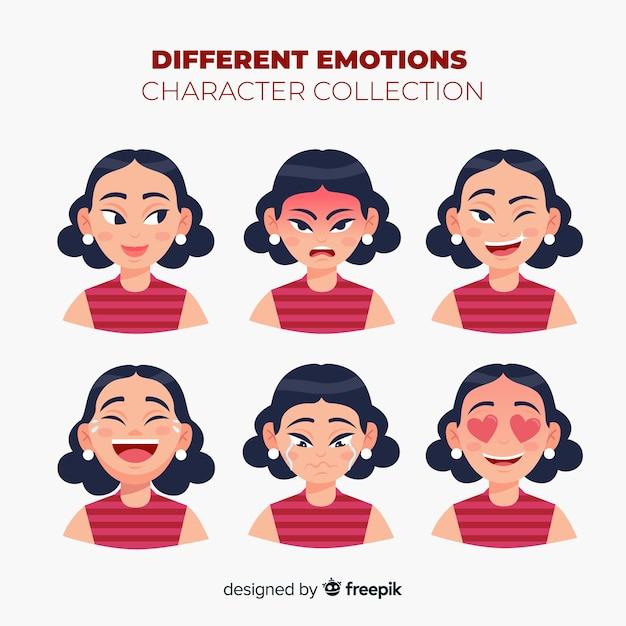 感情コレクションを示すキャラクター 無料ベクター