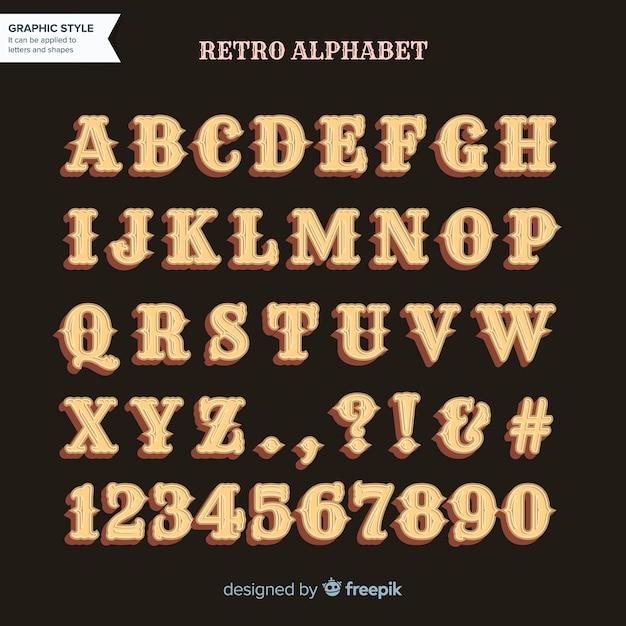 レトロなアルファベット 無料ベクター