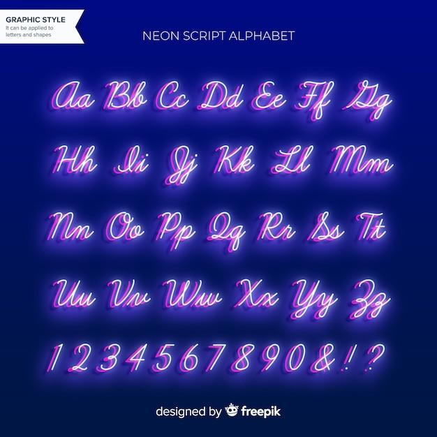 ネオンアルファベット 無料ベクター