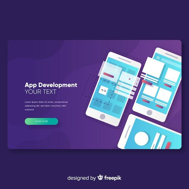 アプリ開発のランディングページテンプレート 無料ベクター