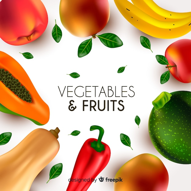 現実的な野菜と果物の背景 無料ベクター