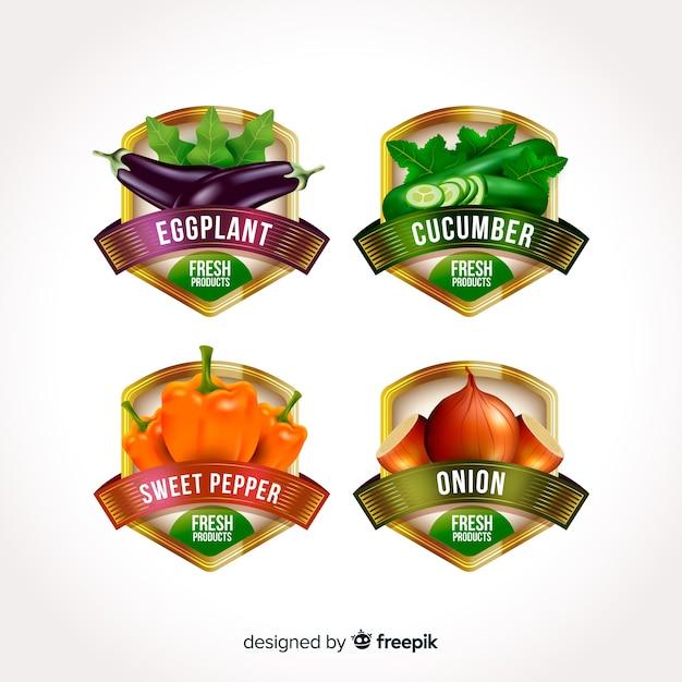 Реалистичные этикетки для органических продуктов питания Бесплатные векторы