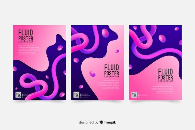 流体形状のポスターテンプレート 無料ベクター