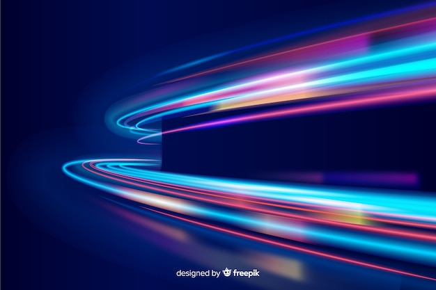 カラフルなネオン波状の光の道の背景 無料ベクター