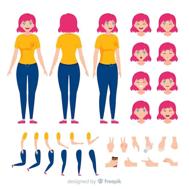 Шаблон персонажа мультфильма аниме девушка Бесплатные векторы