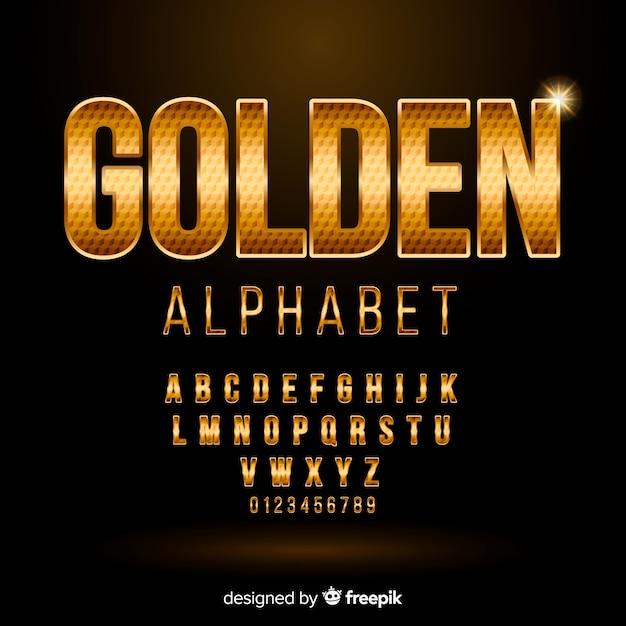 Золотой алфавит Бесплатные векторы