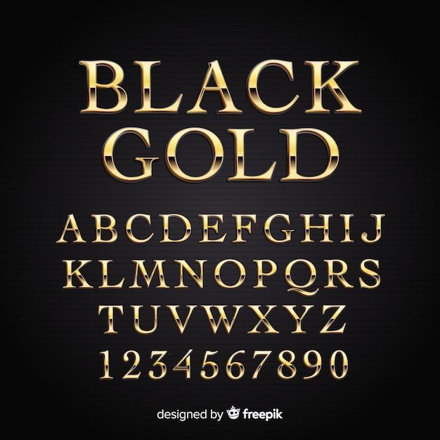 黄金のアルファベット 無料ベクター