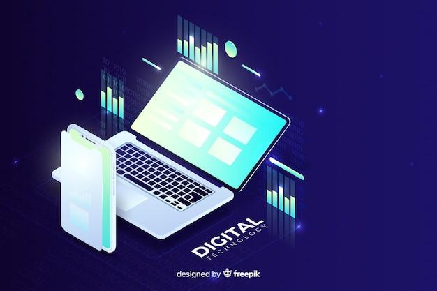 Градиент изометрической ноутбук технологии фон Бесплатные векторы