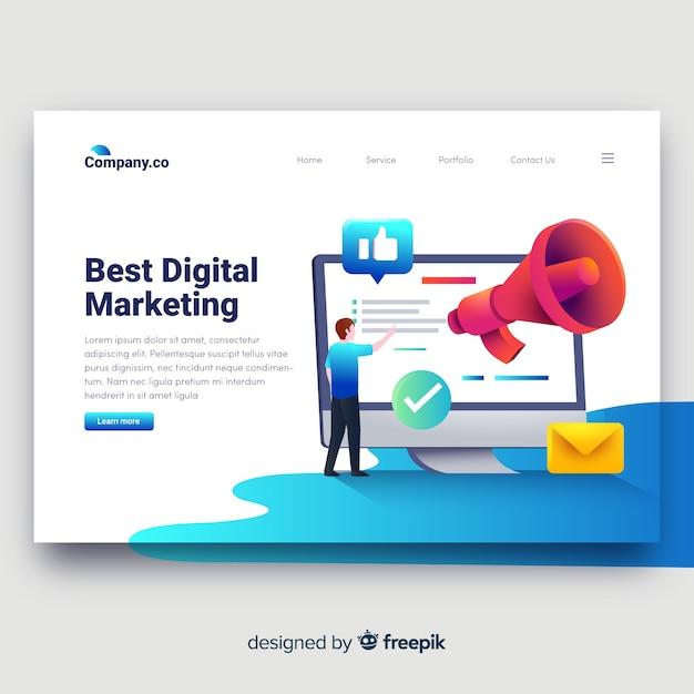 Целевая страница цифрового маркетинга Бесплатные векторы