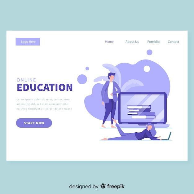 オンライン教育のランディングページテンプレート 無料ベクター