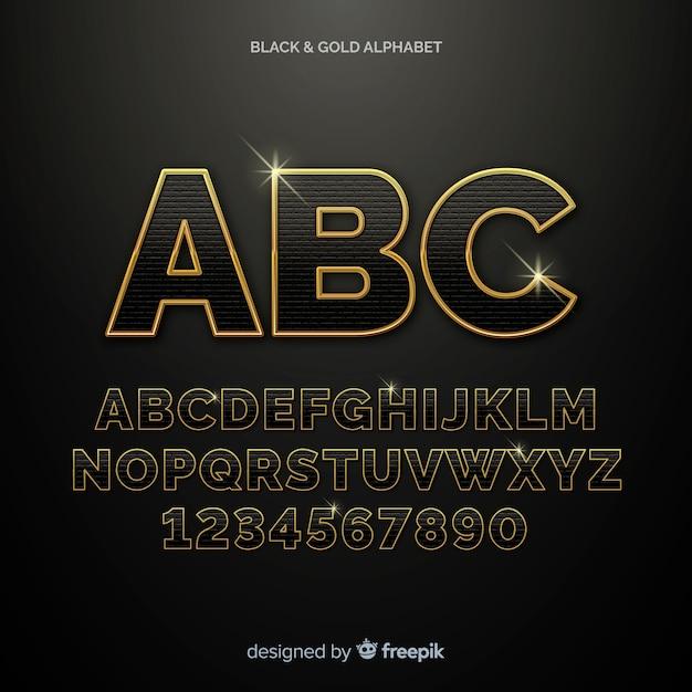 Золотой алфавит шаблон Бесплатные векторы