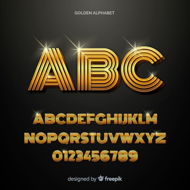 黄金のアルファベットのテンプレート 無料ベクター