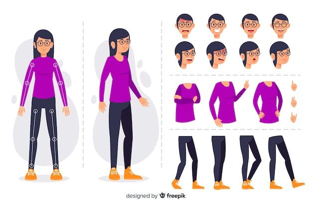 Мультипликационный персонаж для дизайна движения Бесплатные векторы