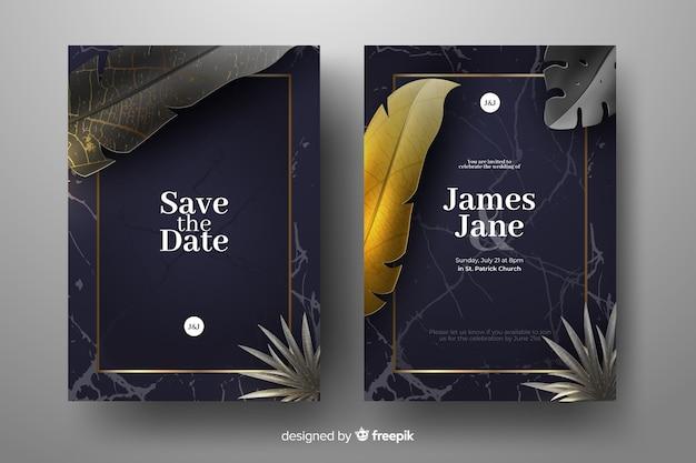 現実的な黄金のヤシの葉の結婚式の招待状のテンプレート 無料ベクター
