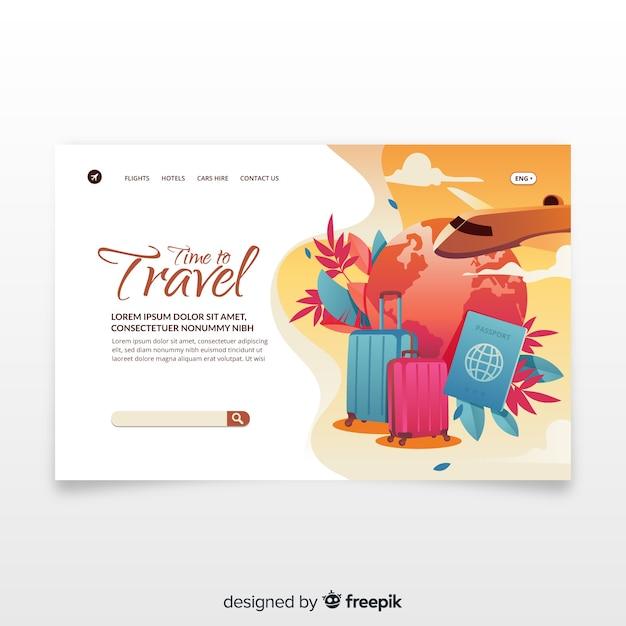 旅行のランディングページ 無料ベクター