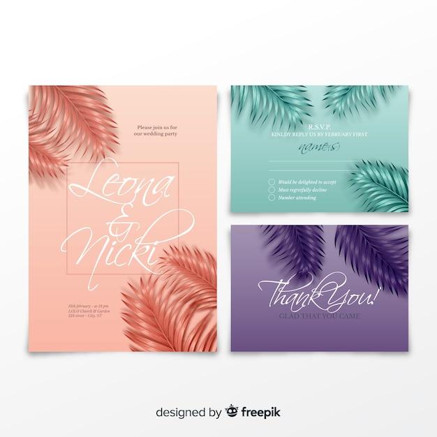 Реалистичные пальмовые листья свадебные приглашения шаблон Бесплатные векторы