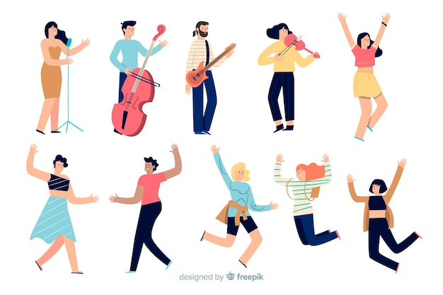楽器を踊って演奏する人々 無料ベクター